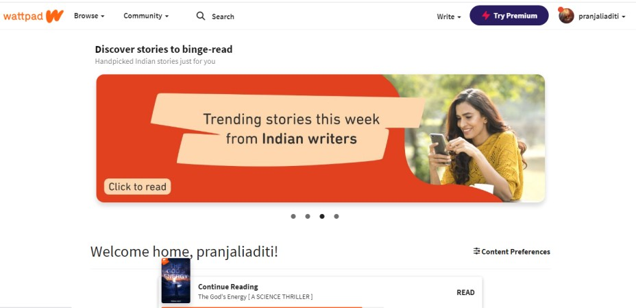 how to start your own story on Wattpad web