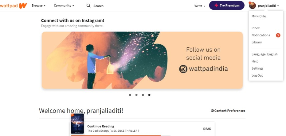 how to check notifications on wattpad web